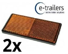 TRAILER CARAVAN GATE CAR DOOR HORSEBOX ADHESIVE SIDE AMBER REFLECTOR RADEX  x 2